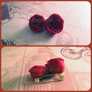 Брошь «Розы» из полимерной глины