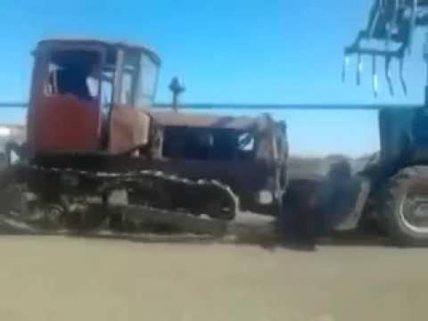 Заводим трактор с толкача