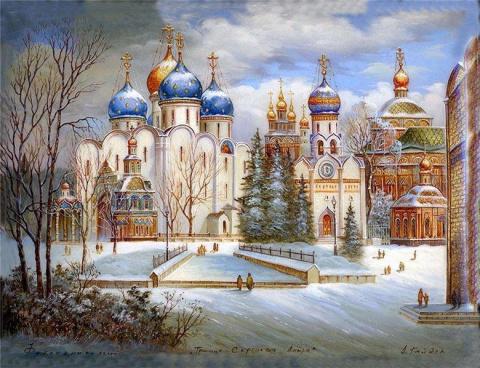 Федоскинская лаковая миниатюра. Зимняя сказка.