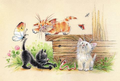 Три котенка... Художник-иллюстратор Юлия Корякина
