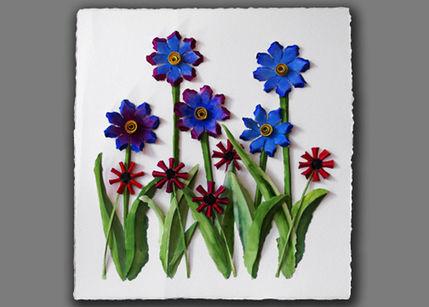 Панно из бумажных цветов (детское творчество)