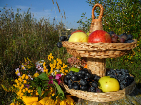 Осенняяя композиция с фруктовницей из лозы!