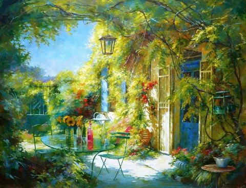В цветах и ярком солнце утопает, волшебный дворик, райский уголок