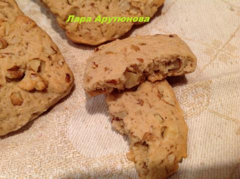 Кофейное печенье с грецкими  орехами.