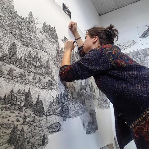Фантазийные миры чернильной ручкой от Оливии Кемп