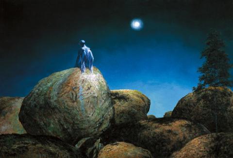 Луна, освещающая камни
