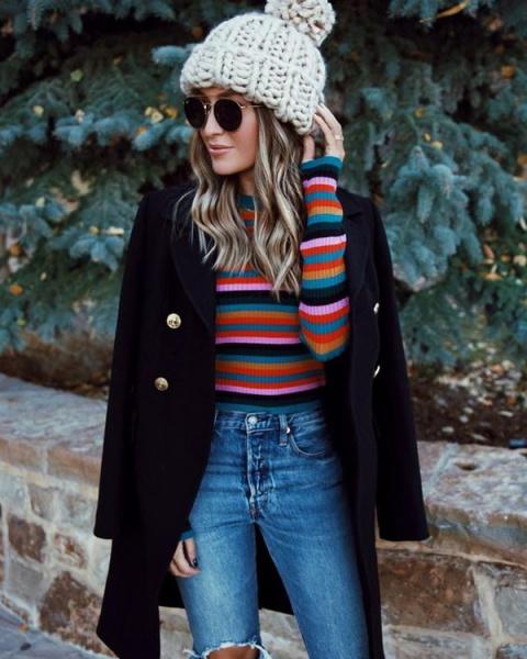 С чем носить джинсы зимой: м…