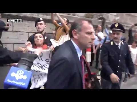 В Риме задержали активистку за баннер против НАТО