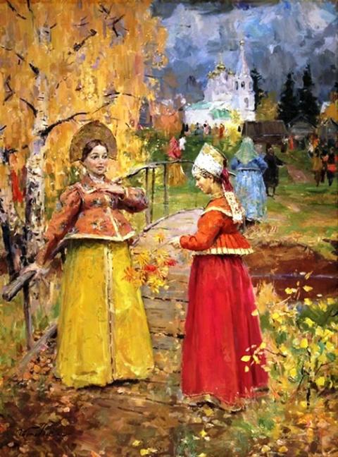 Простые и милые картинки старинного русского быта кисти Станислава Бабюка