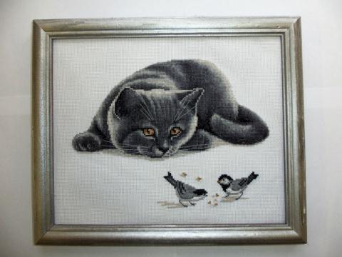 Котик с птичками.Продолжение.делюсь схемой!