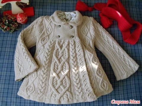 Вязаное спицами пальто Элизабет