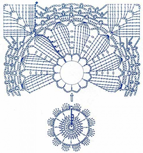 Квадратный мотив для покрывала и кайма