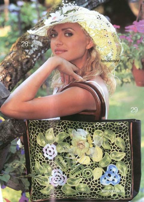 Шляпа и сумка с кружевным декором