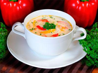 Сырный суп с курицей и болга…