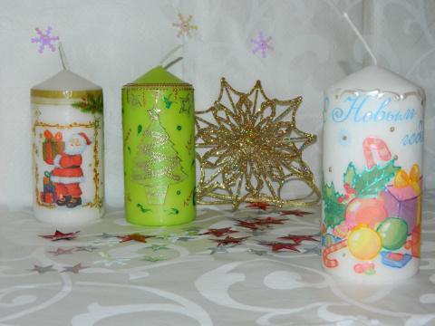 Мои новогодние подарки(свечи и подсвечники).