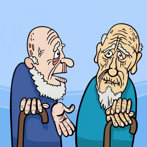 Встречаются водесском дворике два давних приятеля…