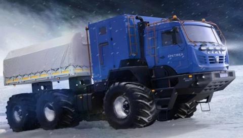 Арктический вездеход с шинами низкого давления на базе КамАЗа