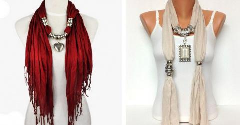 Ожерелье из шарфов и косынок…