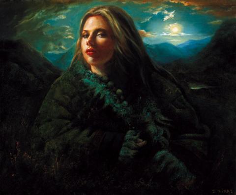 Девушка, освещенная светом, на Тибете