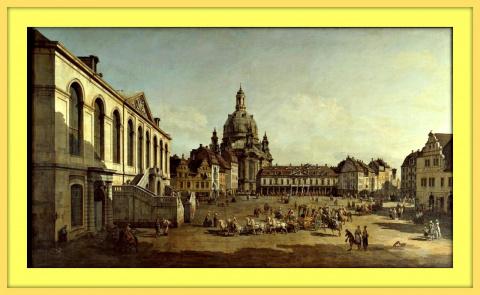 Площадь Ноймаркт в Дрездене со строны юденгофа.1749г