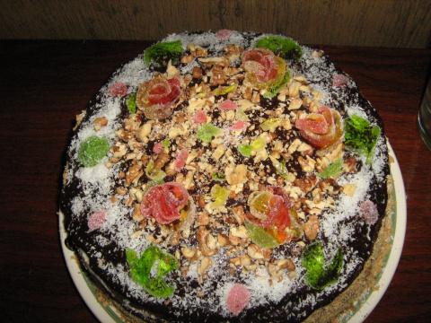 Торт с розами из мармелада