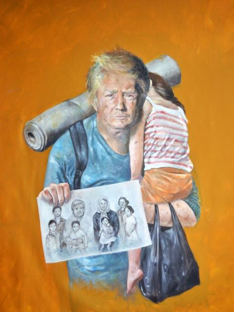 Попытка достучаться: художник изображает мировых лидеров в образе нуждающихся беженцев