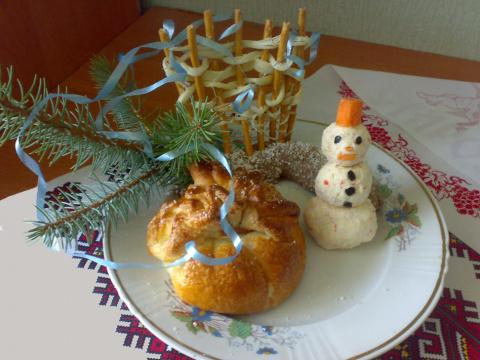 В ожидании Деда Мороза.( Мешочки с куриным мясом)