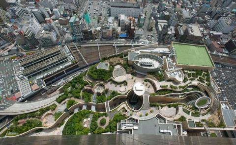 8-уровневый парк на крыше в Осаке