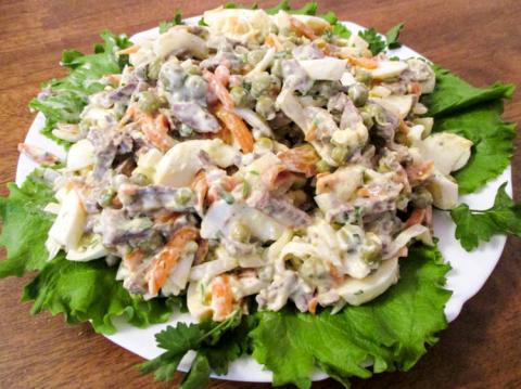 Салат с сердцем свиным, рецепт