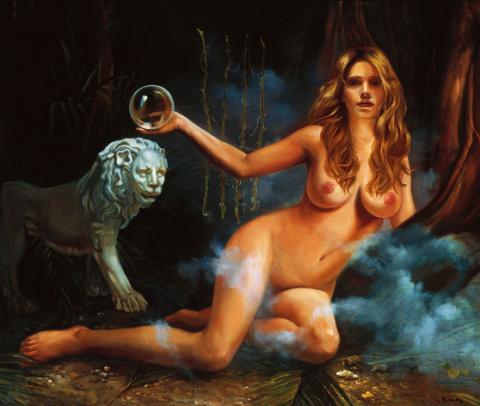 Девушка с шаром на фоне каменного льва