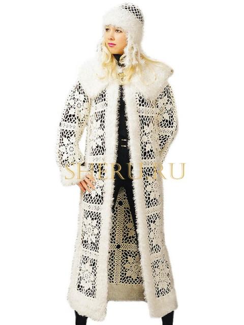 """Бесплатная схема вязания костюма-пальто """"Снегурочка"""" к Новому году от SHERU."""