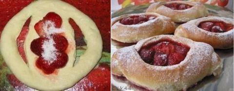 Рецепт Дня: Сочные и вкусные булочки с клубникой!