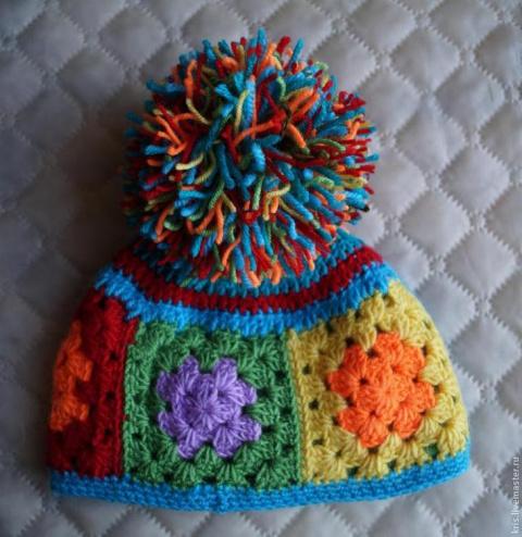 Вязание шапочки из остатков …
