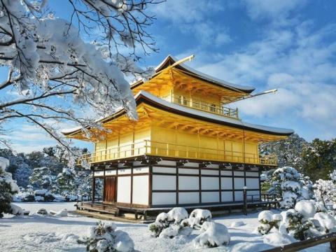 Сказочный город чудес Киото в снегу