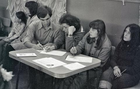 1979 3 смена. Конкурс инсценированной песни. Жюри. Главный Гоша Чурсин, Люда Гормащенко, Рита Парамонова,......