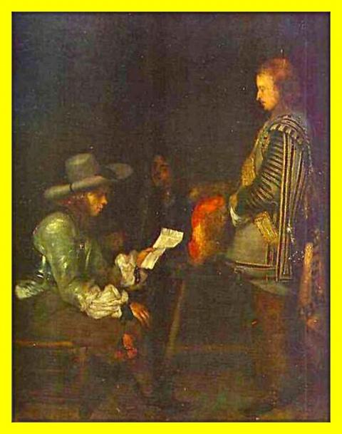 Офицер, читающий письмо.Ок.1657-58гг.