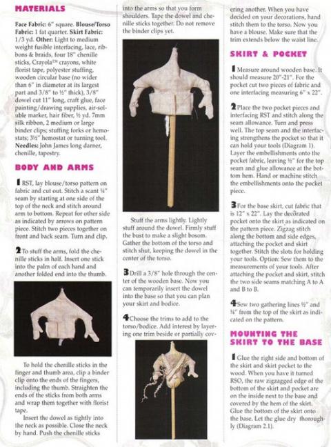 Винтажная куколка-органайзер для рукоделия.(выкройка, пошаговые фото.)