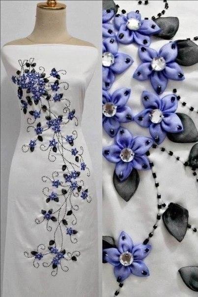 Декорируем платье лентами. Н…