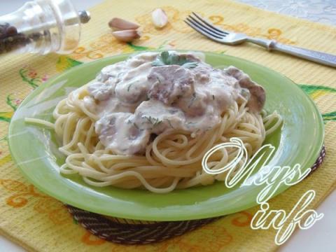 Спагетти в сливочном соусе с грибами