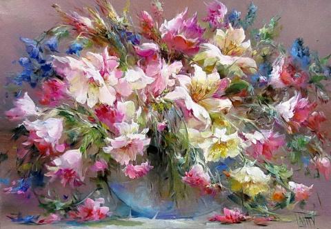 Буйное цветение — роскошные цветочные натюрморты кисти Владимира Бабича