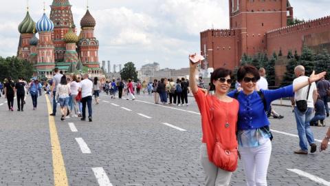 Чайна туриста едет в Россию