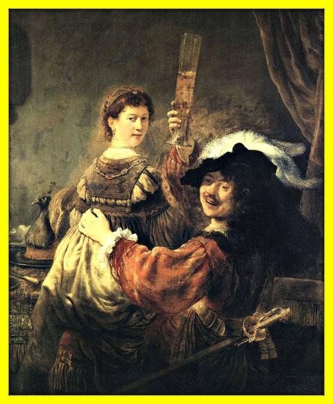 Автопортрет художника с женой Саскией.1635г.
