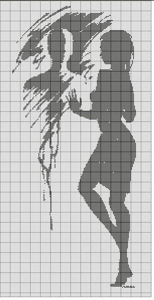 Черно-белые схемы вышивок о любви