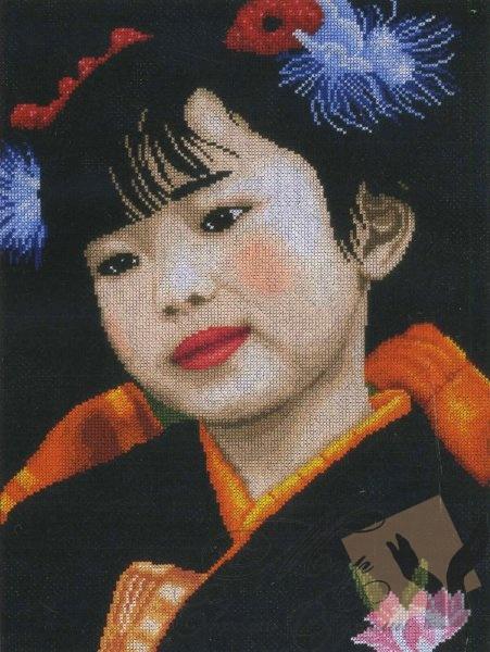 """Набор для вышивания """"Японка маленькая девочка"""". Интернет магазин """"Мир своими руками"""""""