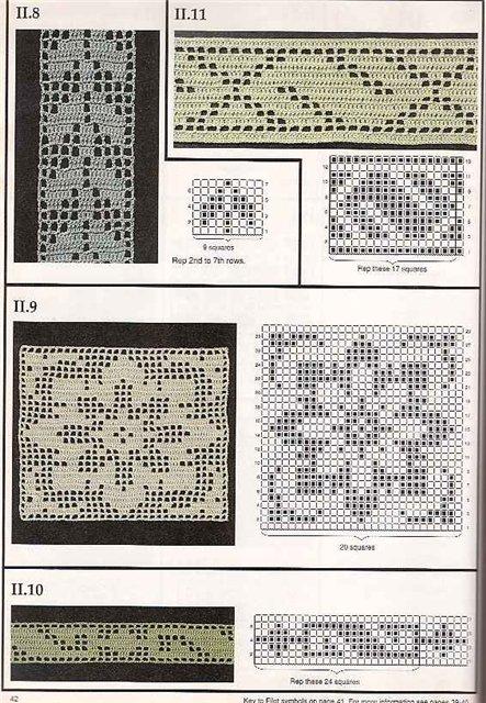 Узоры и схемы для филейного вязания крючком