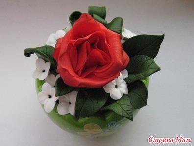 Красная роза в листве.