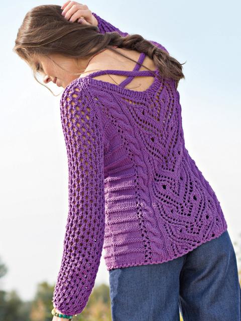 Ажурный пуловер с оригинальной горловиной спицами
