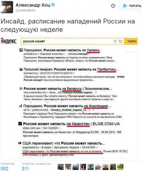 Инсайд. Расписание нападений России на следующей неделе