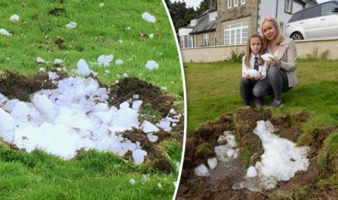 В шотландской деревне рядом с домом упала с неба огромная глыба льда