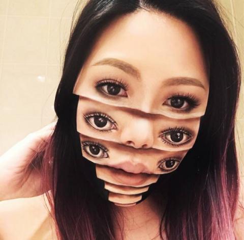 Жутковатый макияж от Мими Чой. Мрачные иллюзии на собственном лице